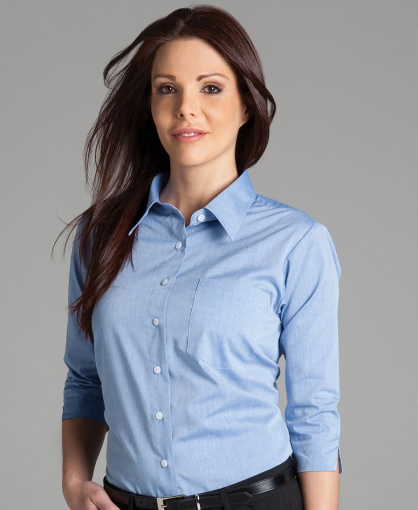 LADIES S/S FINE CHAMBRAY SHIRT