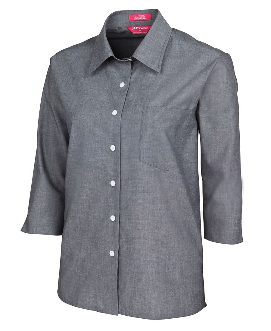 LADIES 3/4 FINE CHAMBRAY SHIRT