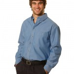 FCW - MENS WRINKLE FREE LONG SLEEVE CHAMBRAY SHIRTS