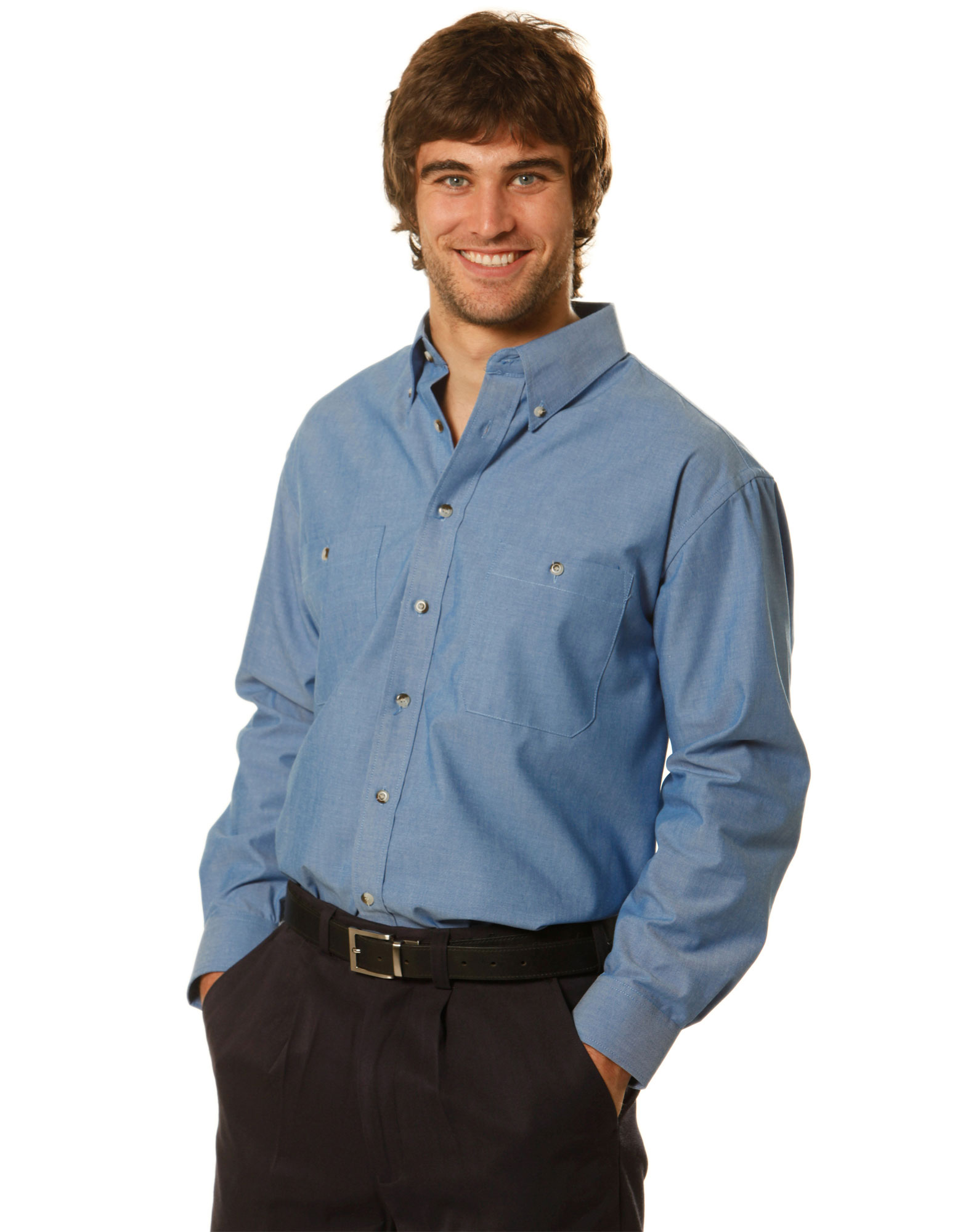 MENS WRINKLE FREE LONG SLEEVE CHAMBRAY SHIRTS