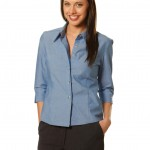 FCW - LADIES WRINKLE FREE 3/4 SLEEVE CHAMBRAY SHIRTS