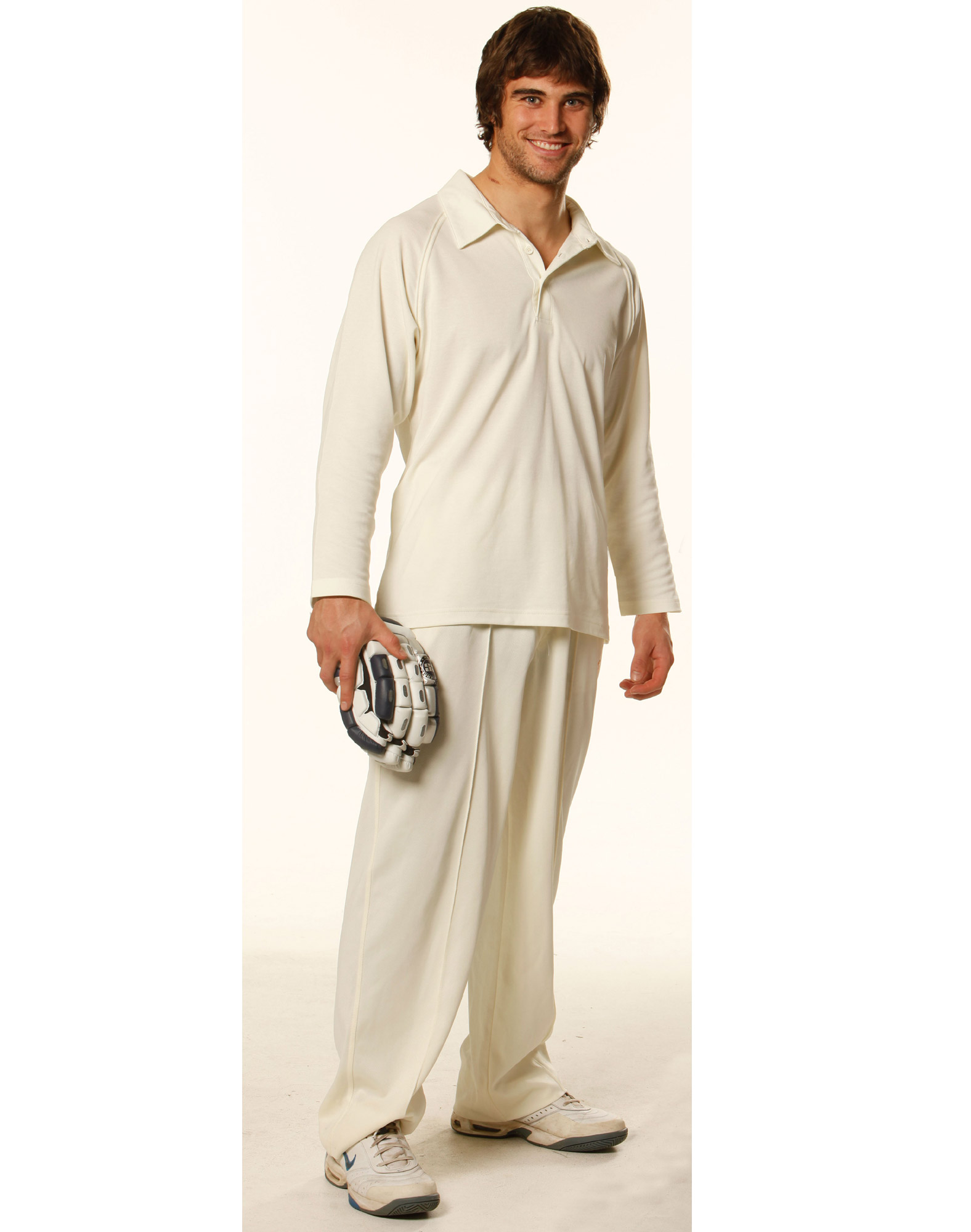 Men's TrueDry® Mesh Knit Short Sleeve Cricket Long Sleeve Polo Cream