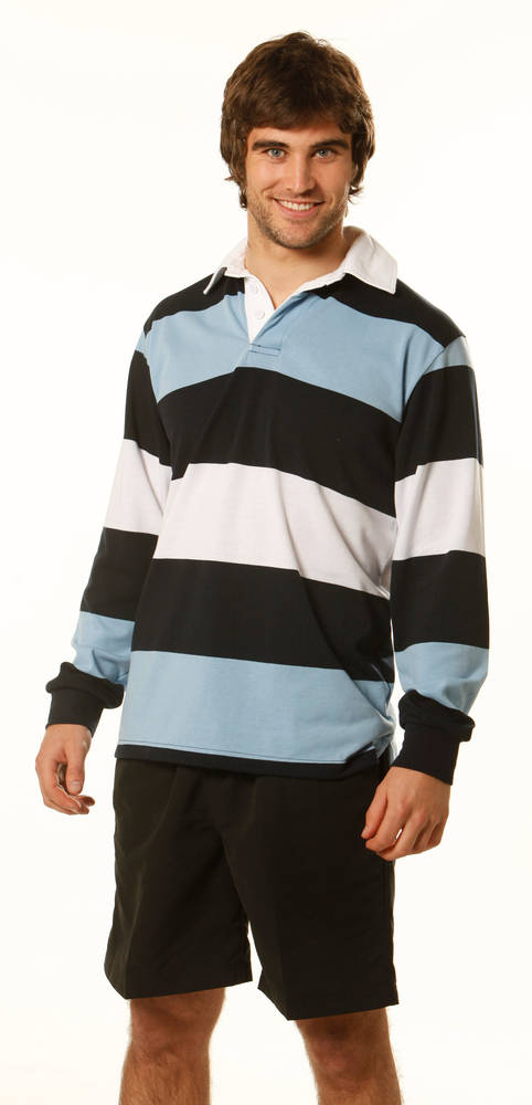MEN'S LONG SLEEVE THREE TONE RUGBY JUMPER