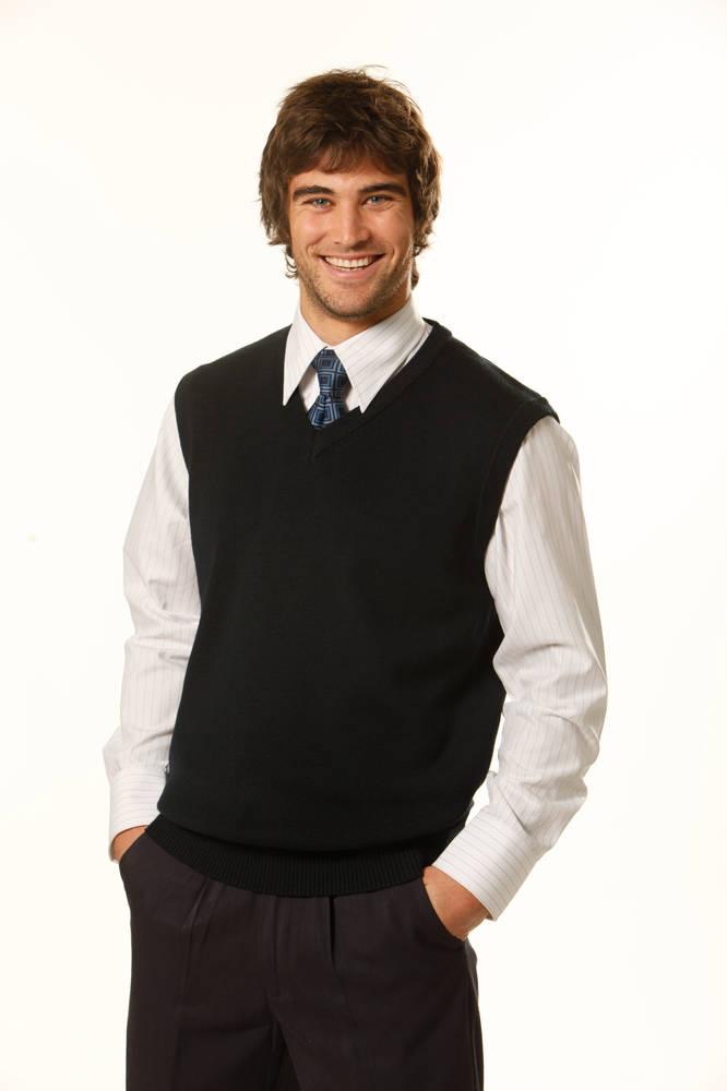 V-Neck Wool/Acrylic Knit Vest