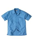 Boys open neck straight hem polyester cotton poplin shirt
